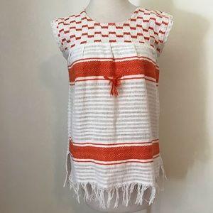 Boho ethnic Mexican beach fiesta orange white top